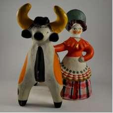 """Дымковская игрушка """"Барыня с коровой"""" (""""Деревенская барыня"""") Вятка"""