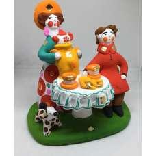 """Дымковская игрушка """" Утреннее самоварное чаепитие с собакой """""""