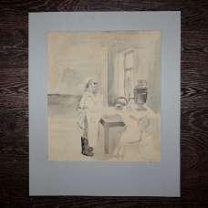 "Картина ""На кухне"" М. Головизнина 1954 г."