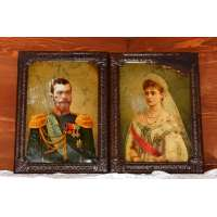 Император Николай II и императрица Александра Федоровна Хромолитография