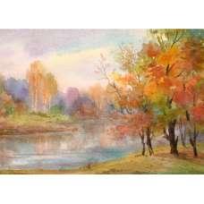 """Осень"" Акварель Худ. А. Семушин 1978 год"