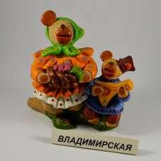 """Ковровская игрушка-свистулька """"Медвежье семейство"""" Владимирская обл."""